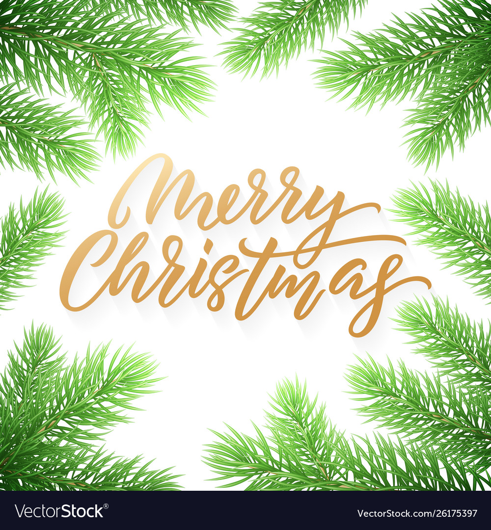 Gold christmas card lettering on white background