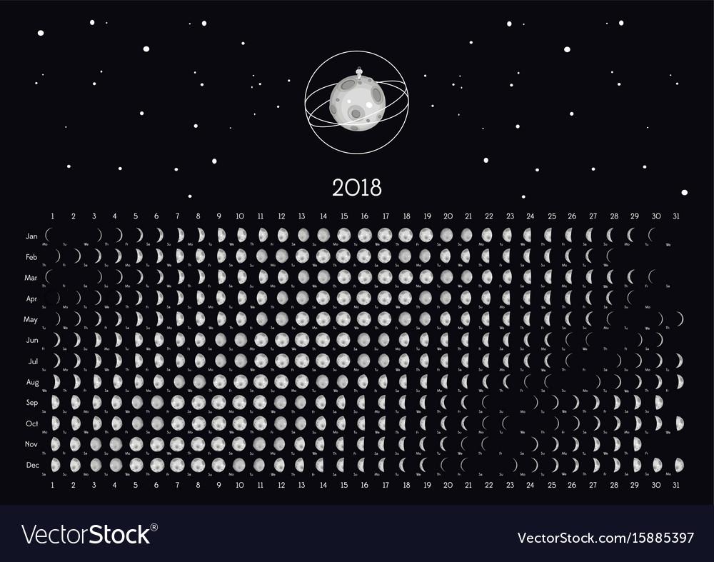 Moon calendar 2018 Royalty Free Vector Image   VectorStock