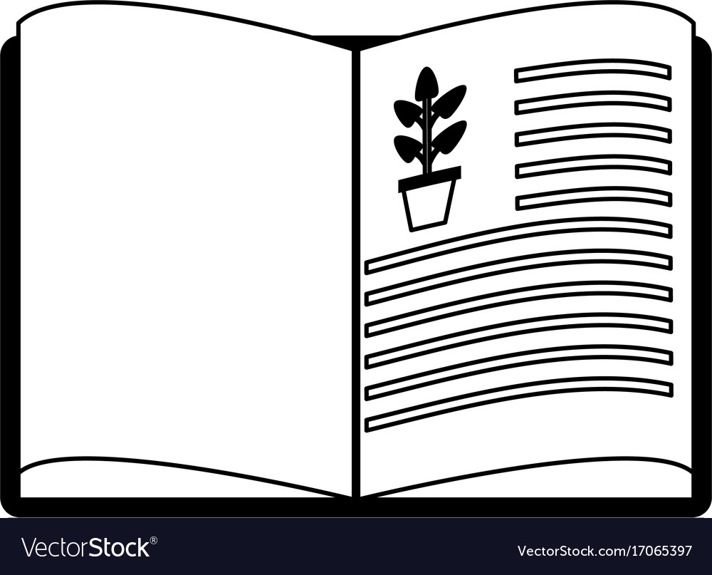 Open book with plant drawing science related icon