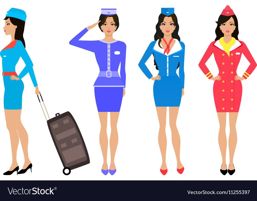 Set beautiful stewardess Air hostess in uniform