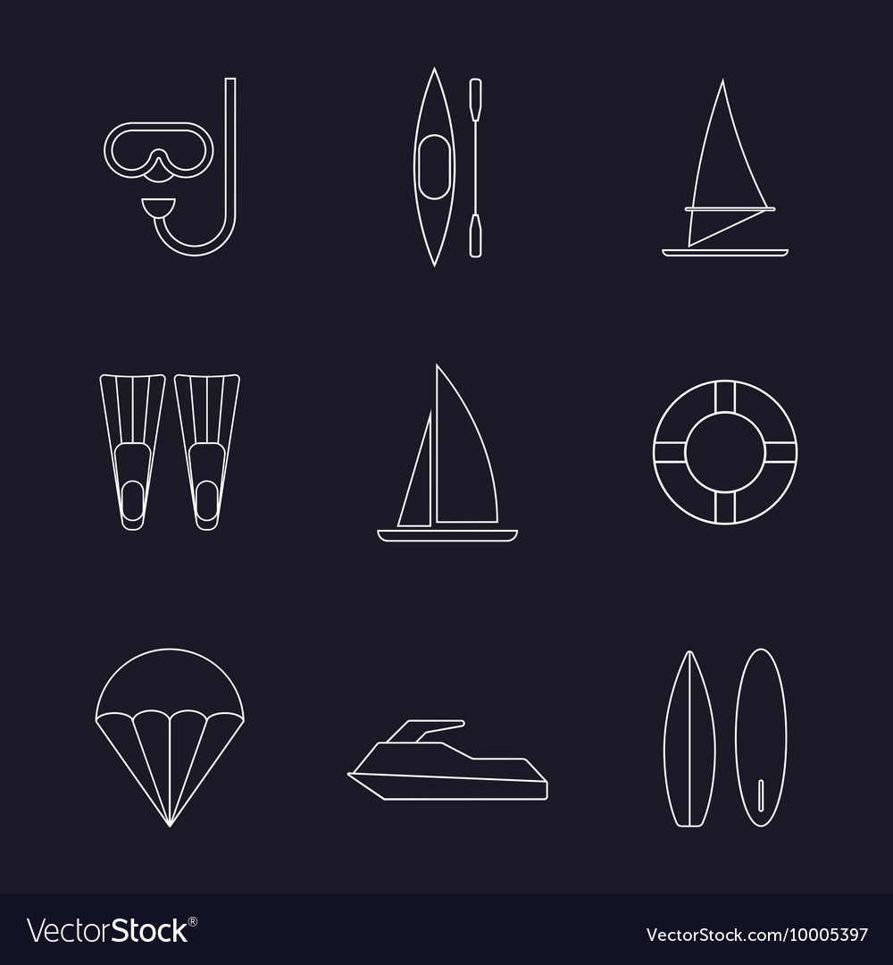 Set of water sport line icons isolated