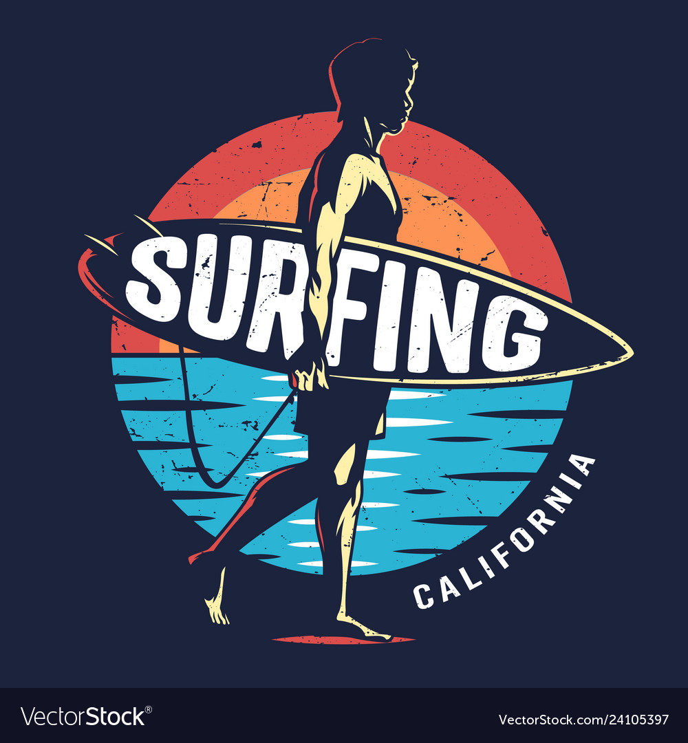 Vintage surfing sport colorful logo