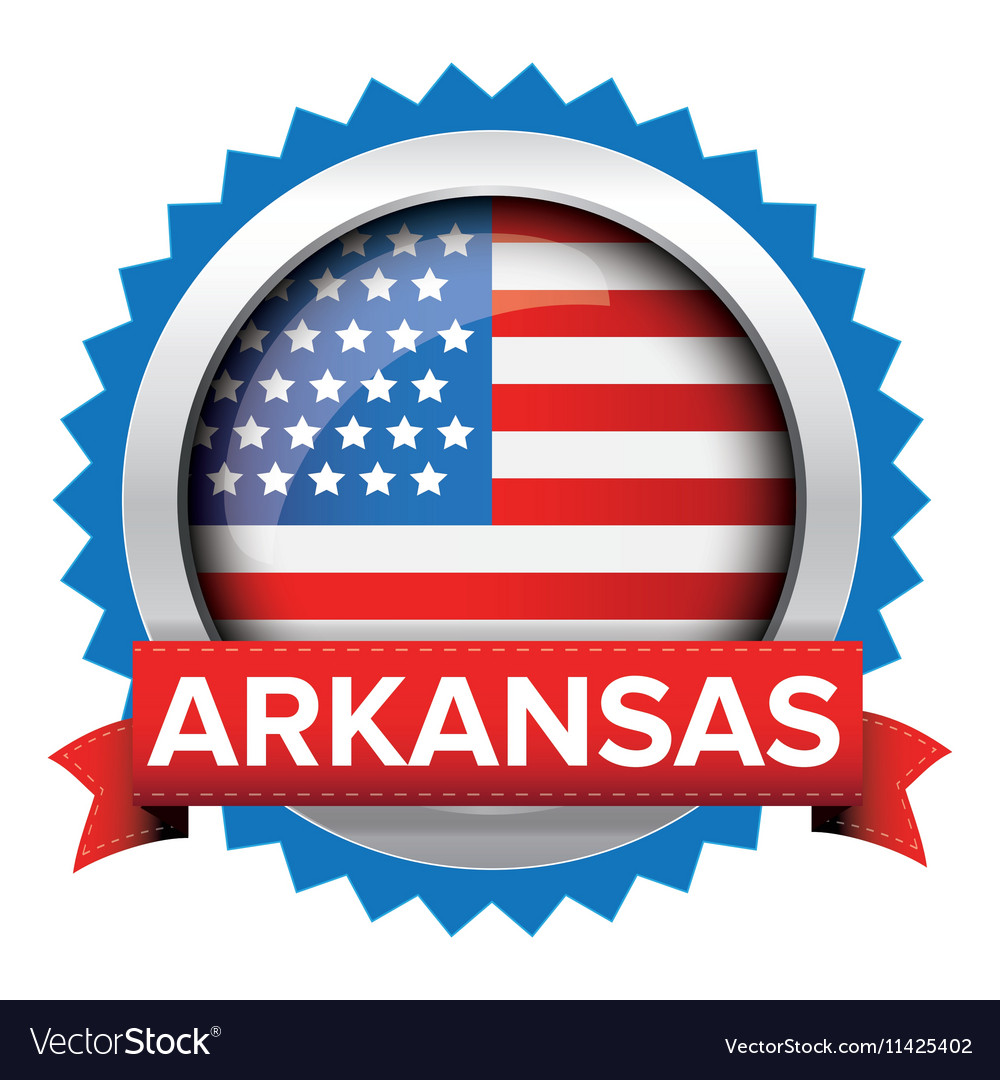 Arkansas and USA flag badge vector image