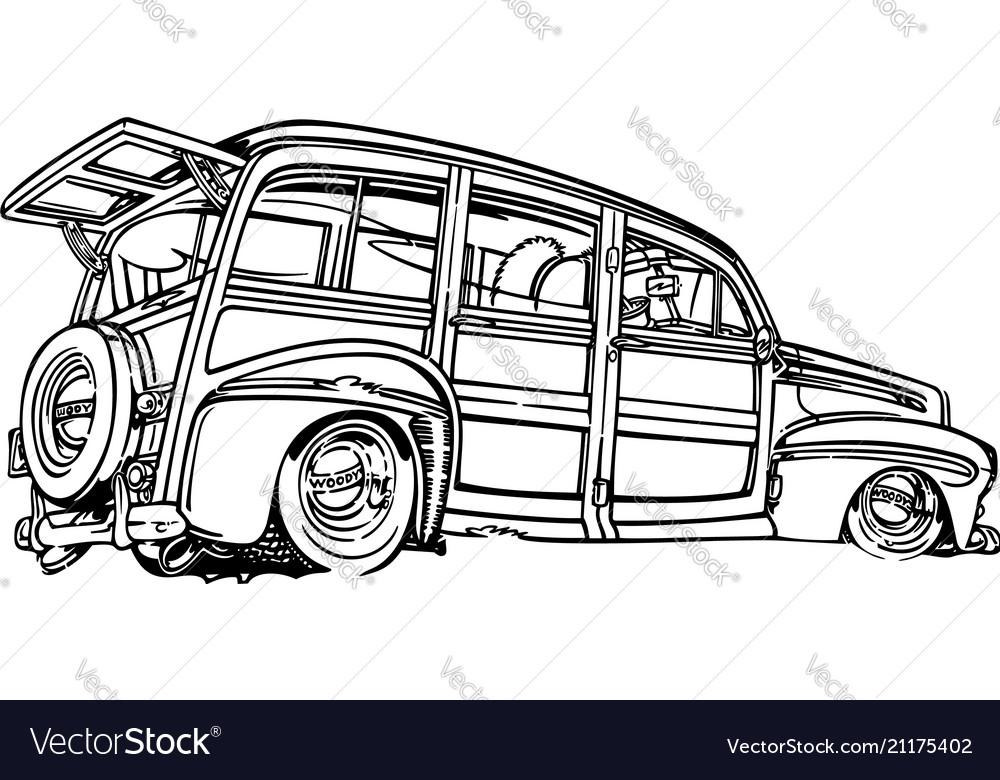 Classic retro hot-rod cars isolated on