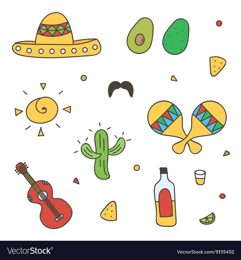 Colorful Mexican doodle hand-drawn set vector image