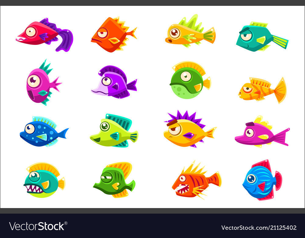 Colorful tropical fish set
