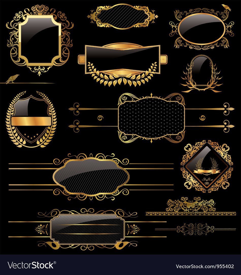 elegant gold and black labels royalty free vector image