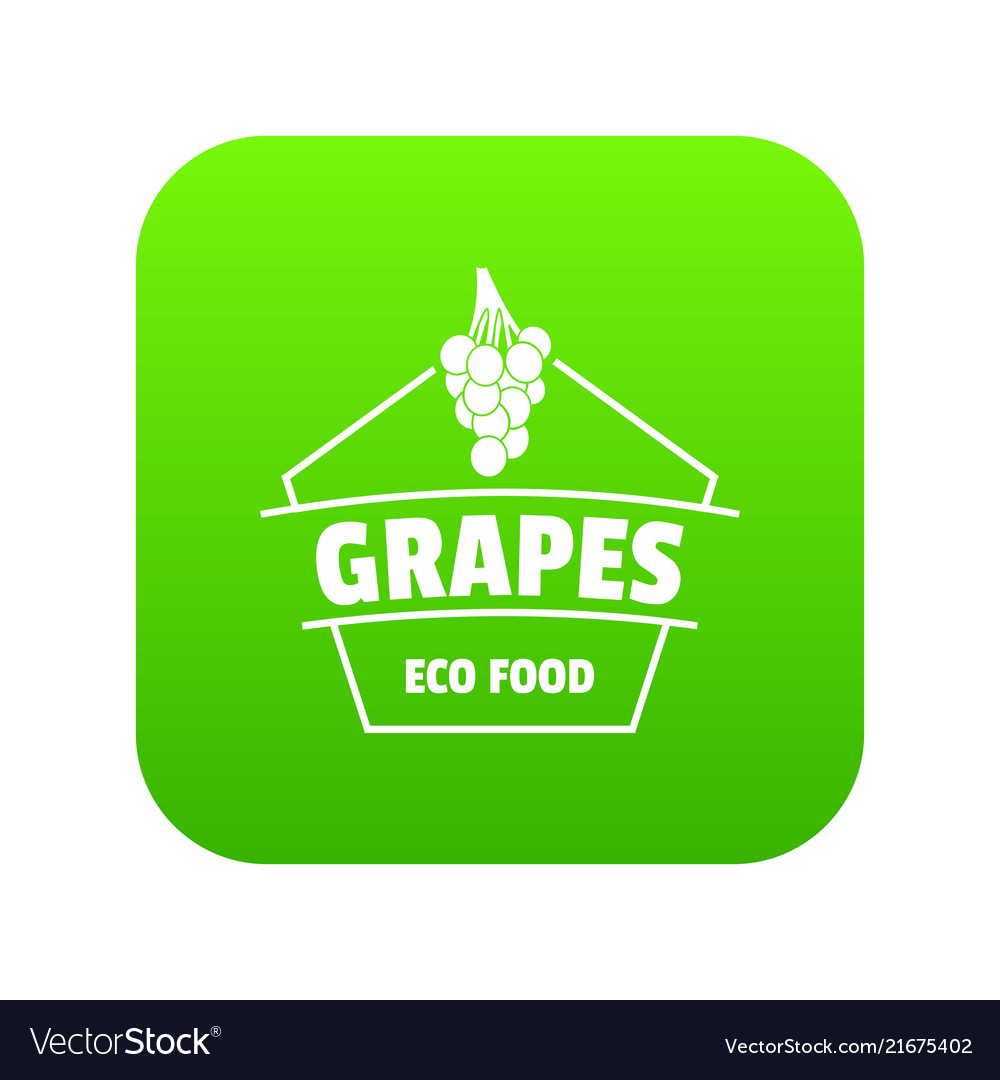 Fresh grapes icon green