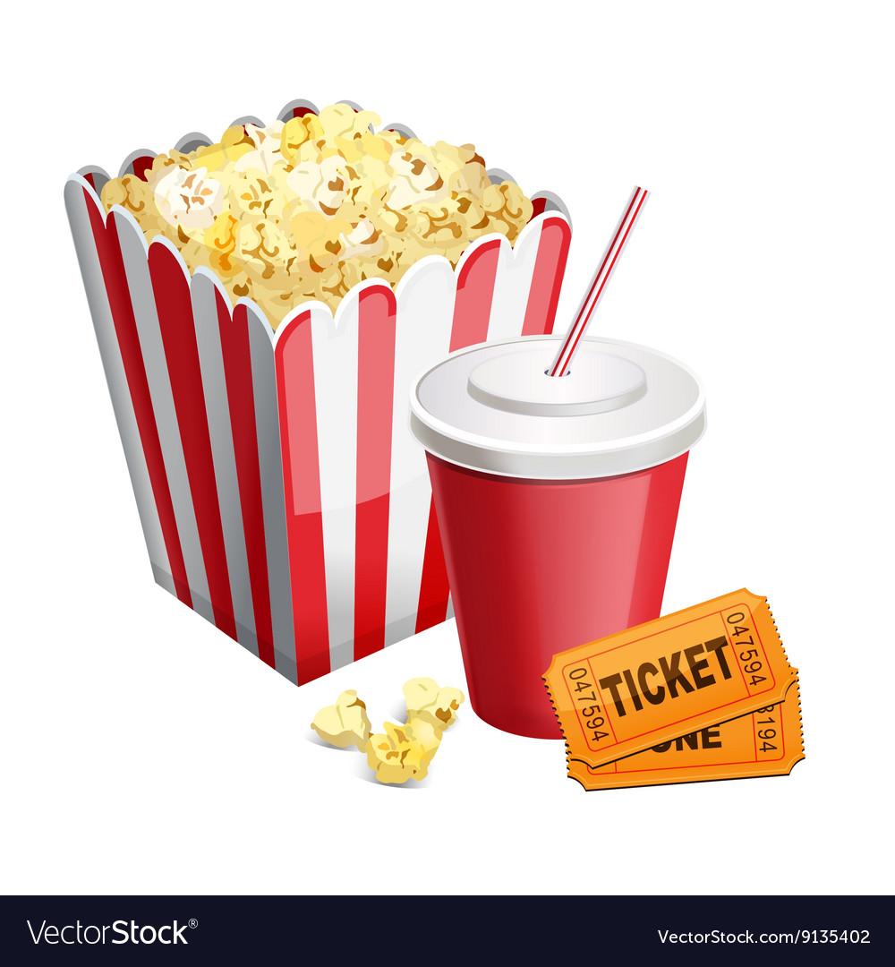 Popcorn with soda and tickets isolated on white