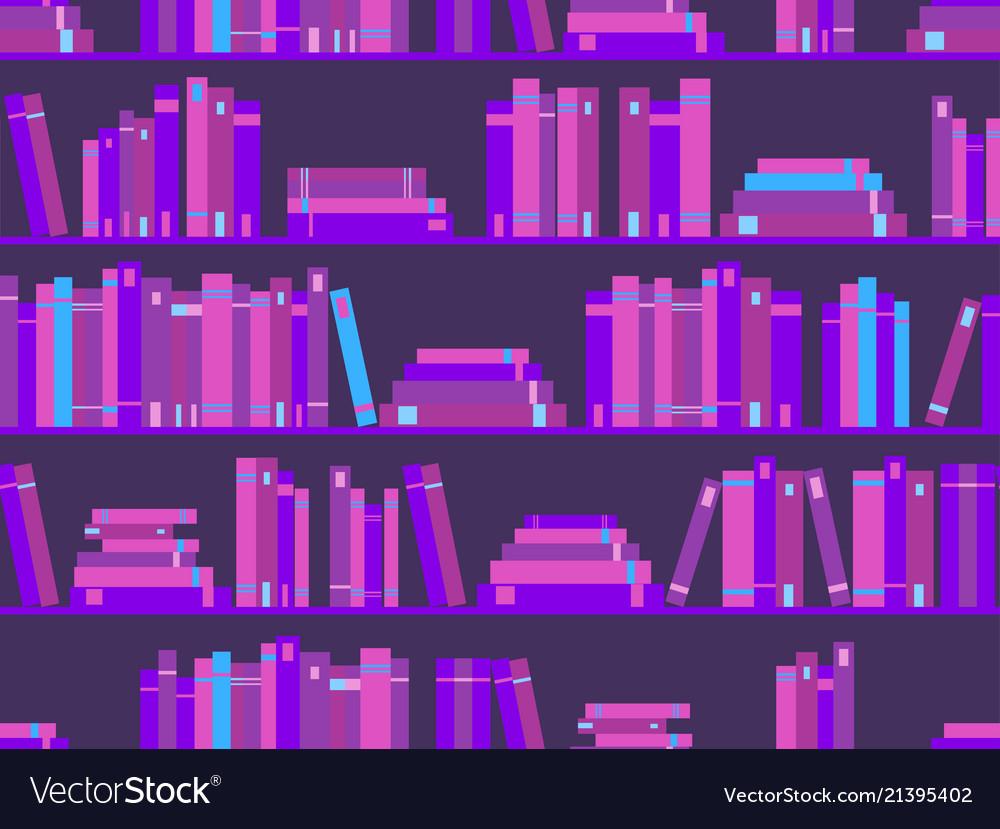 Seamless pattern with books library bookshelf