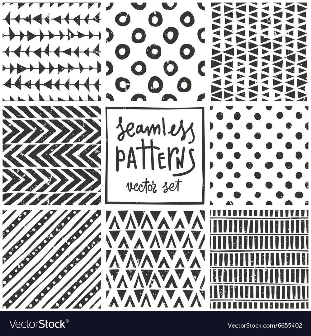 Set of 8 primitive geometric patterns Tribal