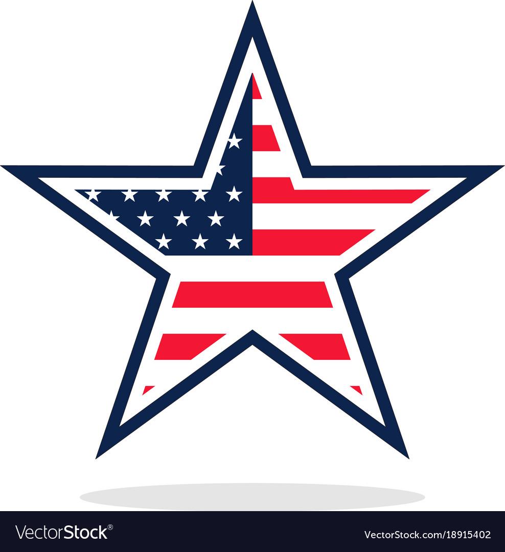 Usa flag star logo Royalty Free Vector Image - VectorStock
