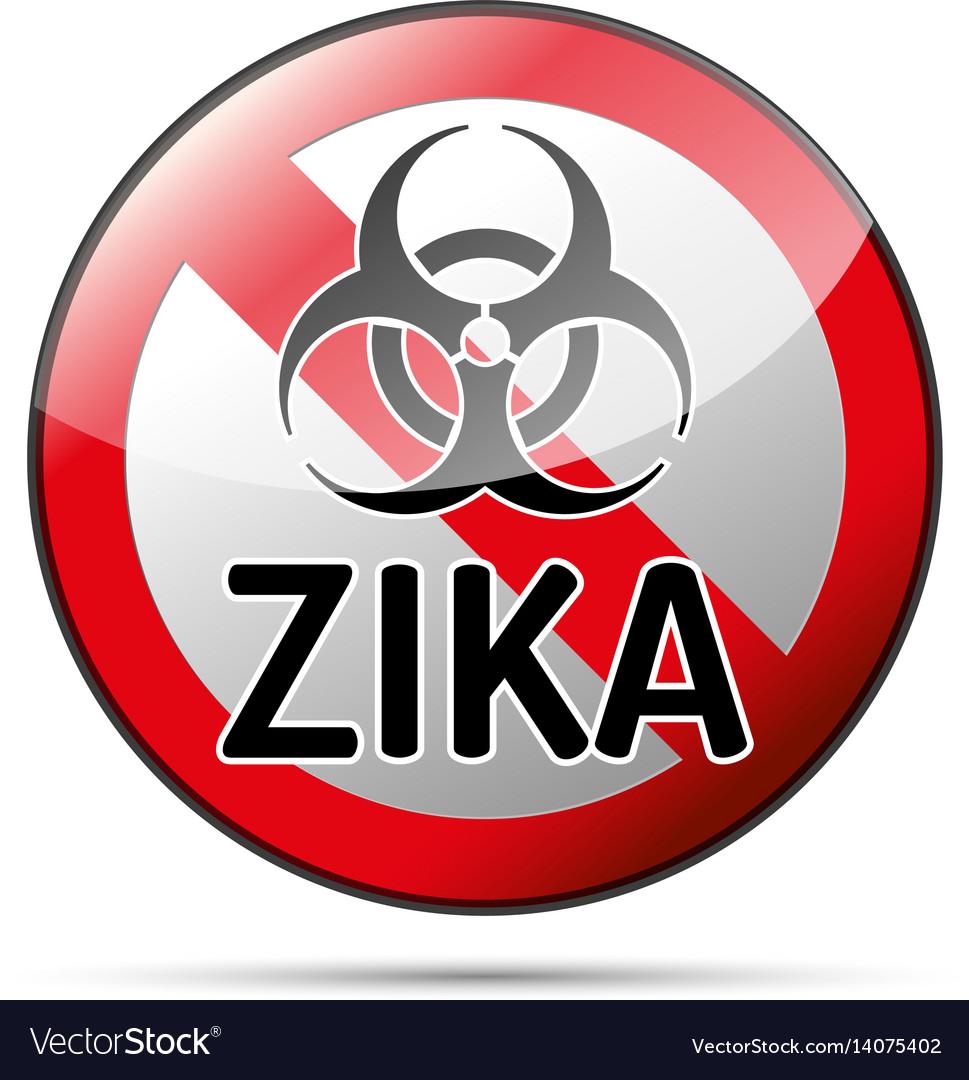 Zika virus biohazard danger sign with reflect and