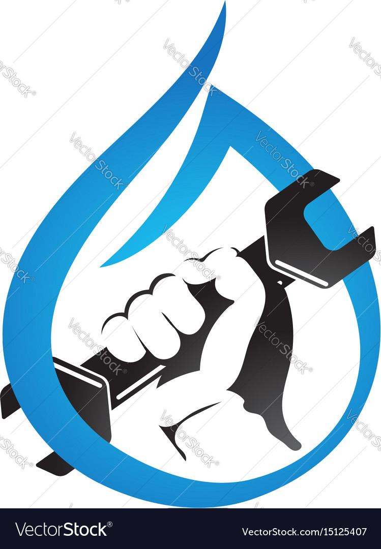 A drop of water and hand with a wrench symbol vector image