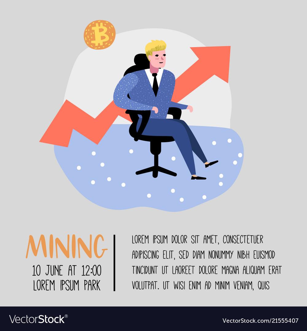 Bitcoin concept with flat cartoon character