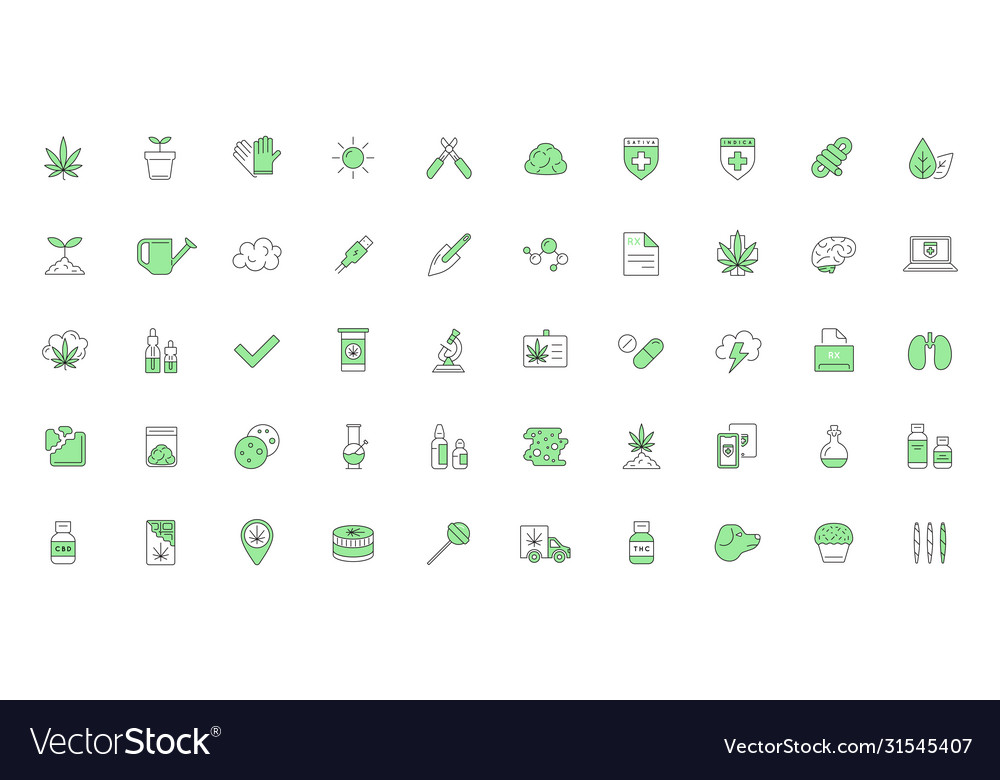 Cannabis production and shopping product icons