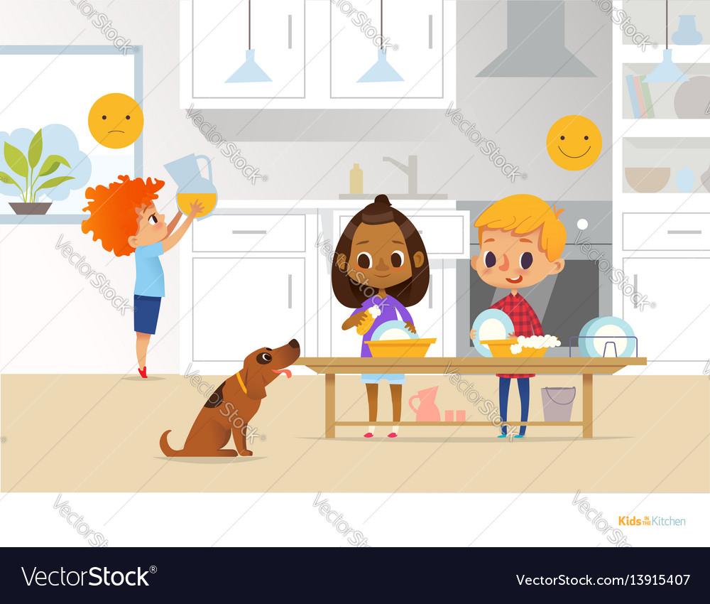 Children doing daily routine activities in kitchen