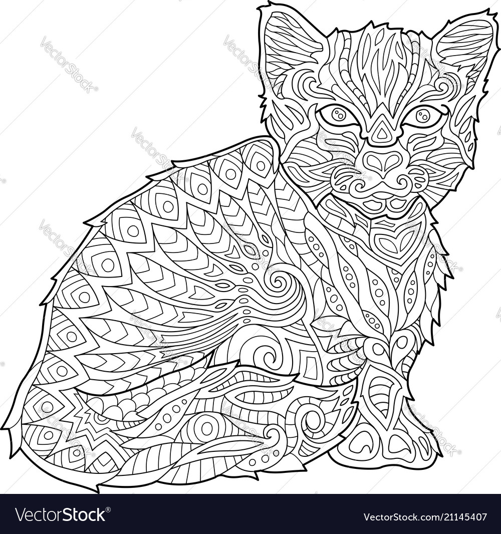 Coloring book page with kitten