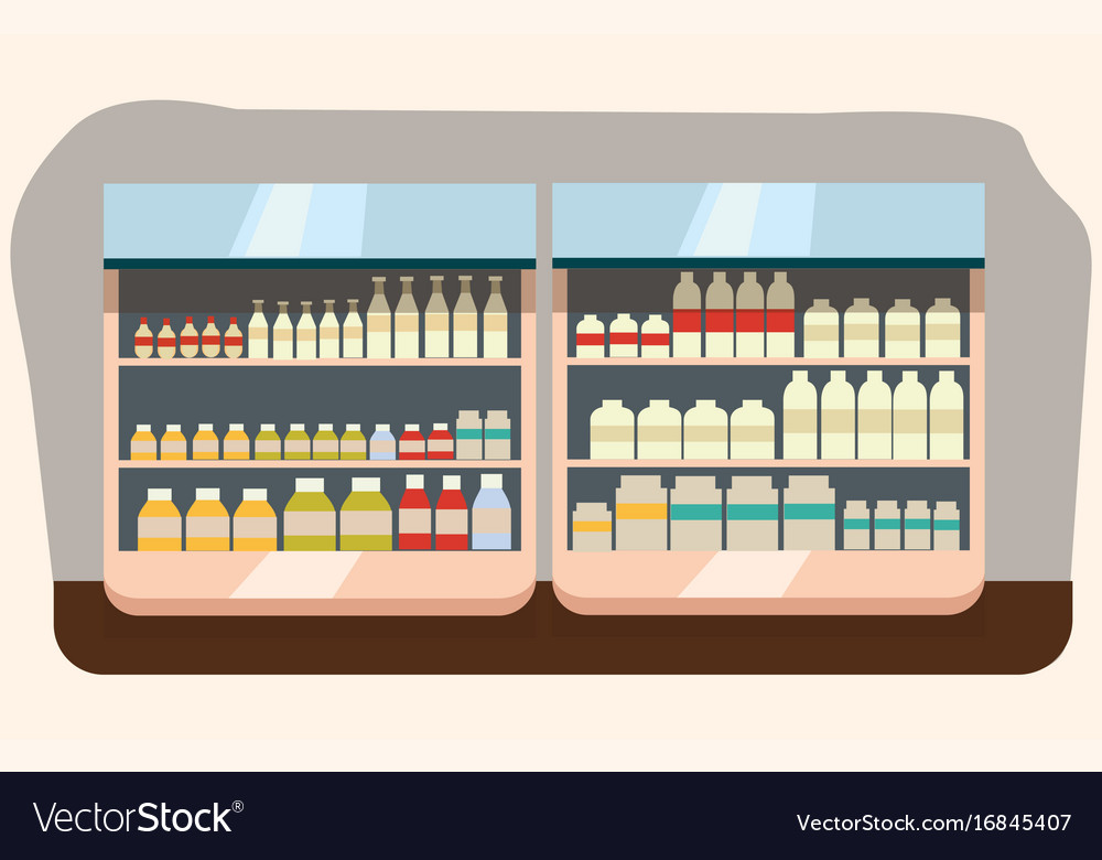 Dairy department milk shelf with fresh healthy