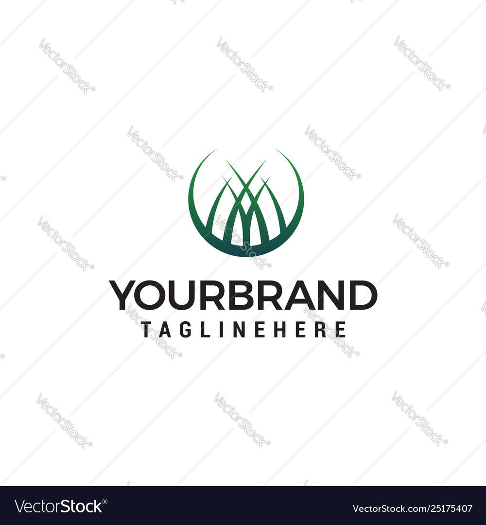 Grass logo design concept template