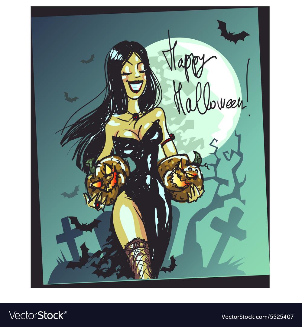 Halloween witch with pumpkin Happy Halloween card