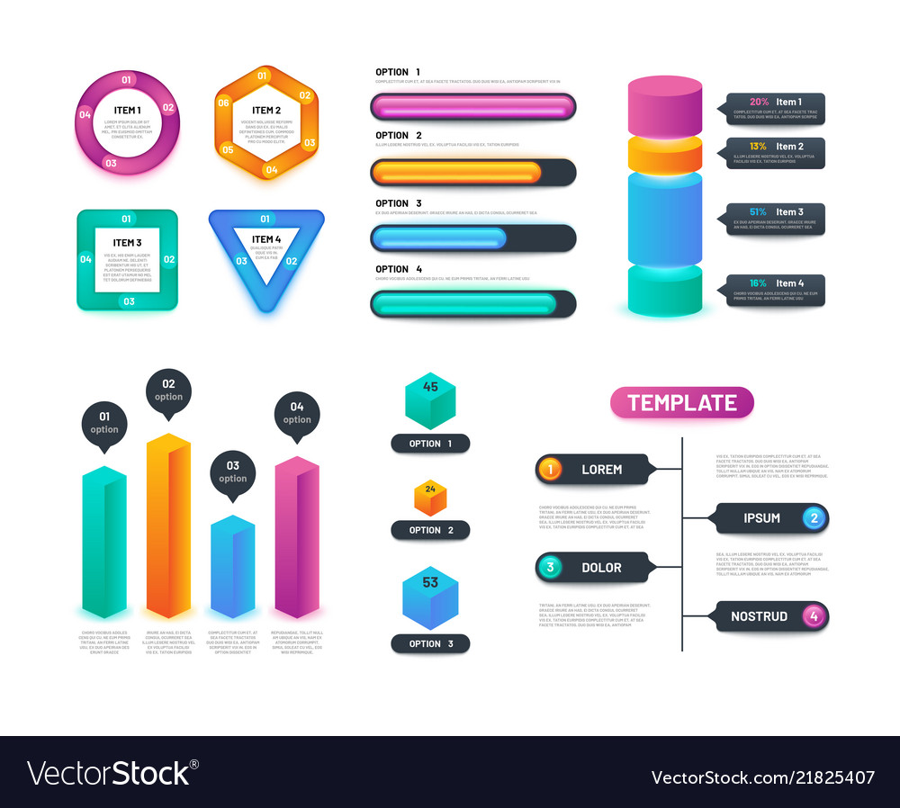 Infographic 3d template business charts graphs