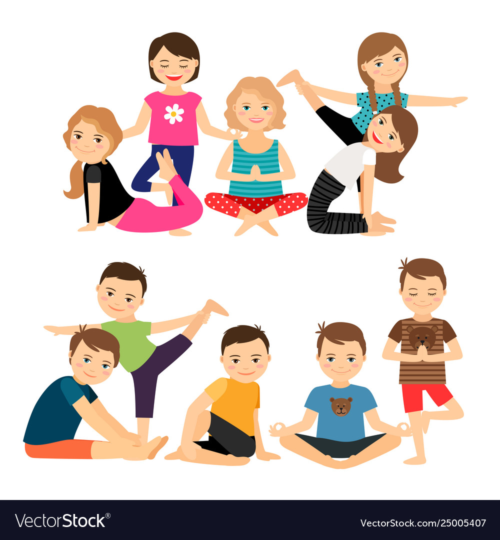 Kids Groups In Yoga Poses Royalty Free Vector Image