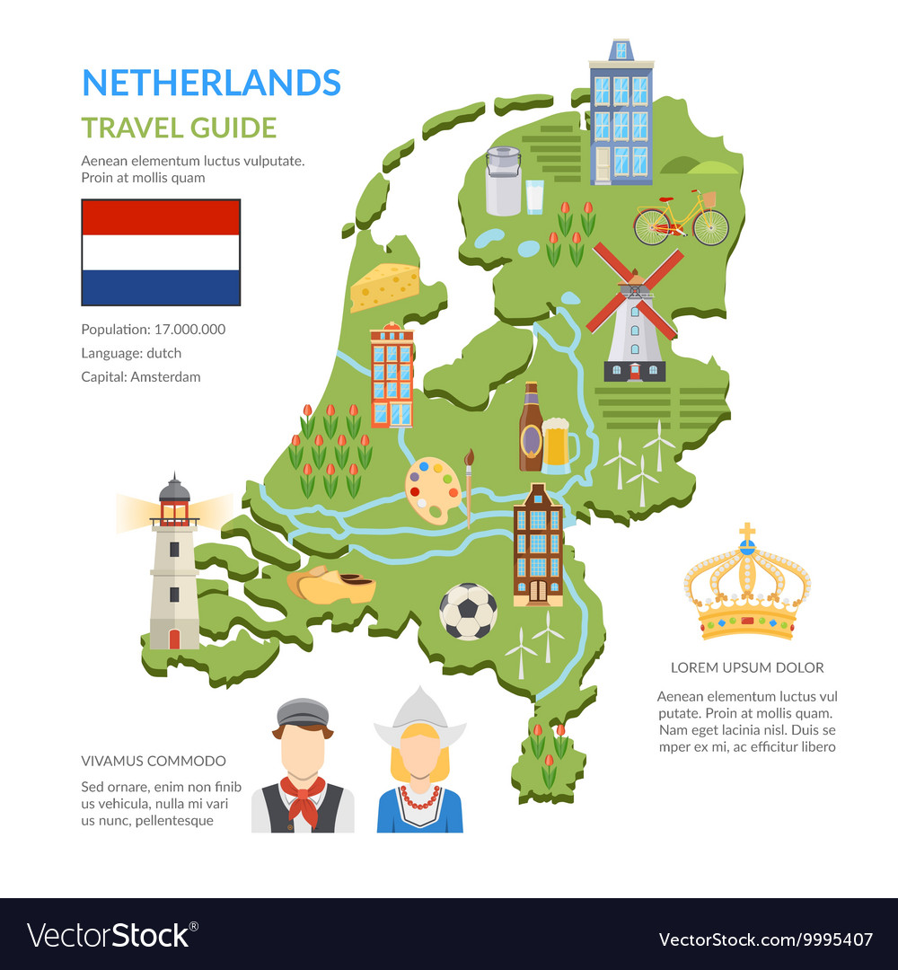 Netherlands Map Flat Infographics Royalty Free Vector Image