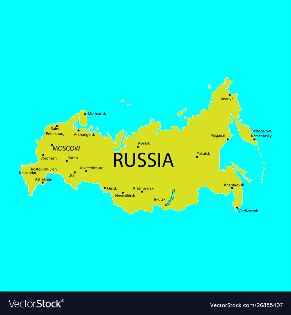 Russia map with cities sign