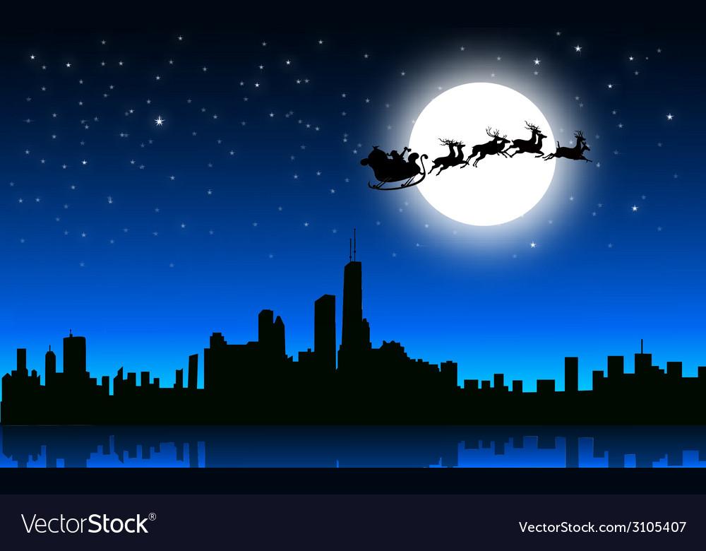 Santa sleigh in Christmas Night on City