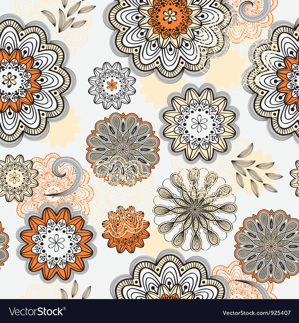 Seamless abstract doodle floral pattern