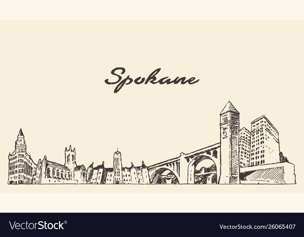 Spokane skyline washington united states a