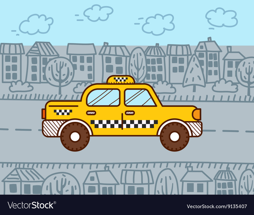 Taxi cab in the city