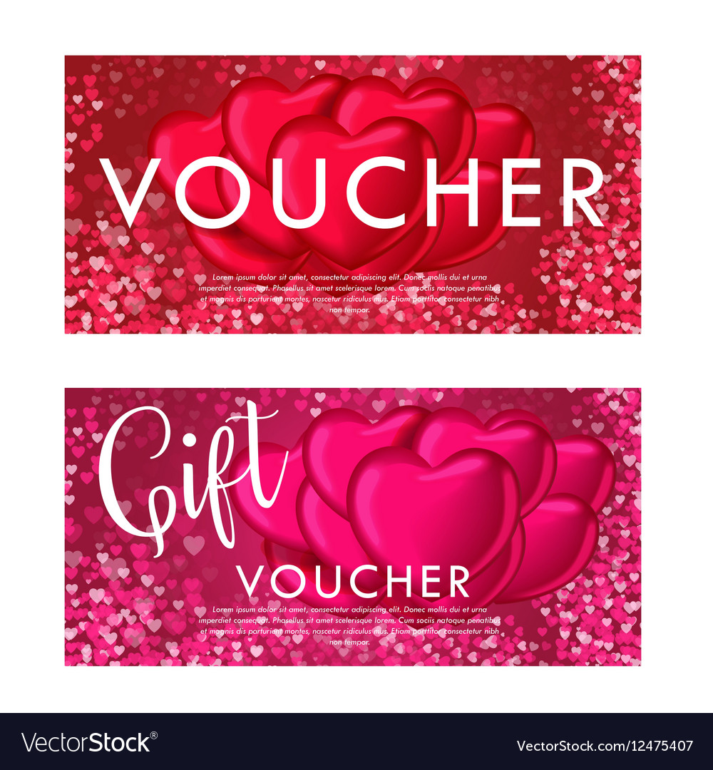 Valentines Day Gift Card Voucher Template On Vector Image On Vectorstock