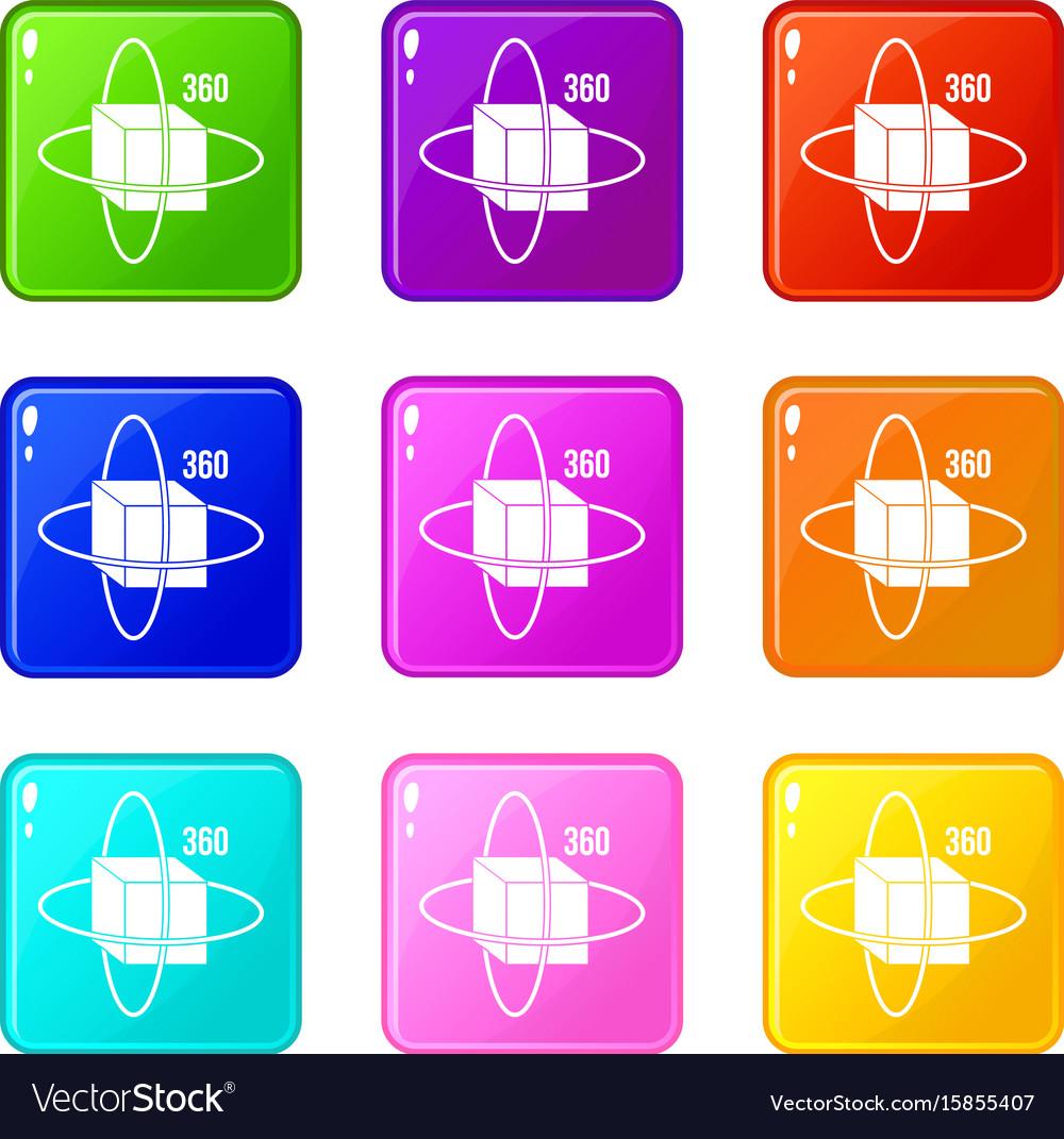 Virtual cube icons 9 set