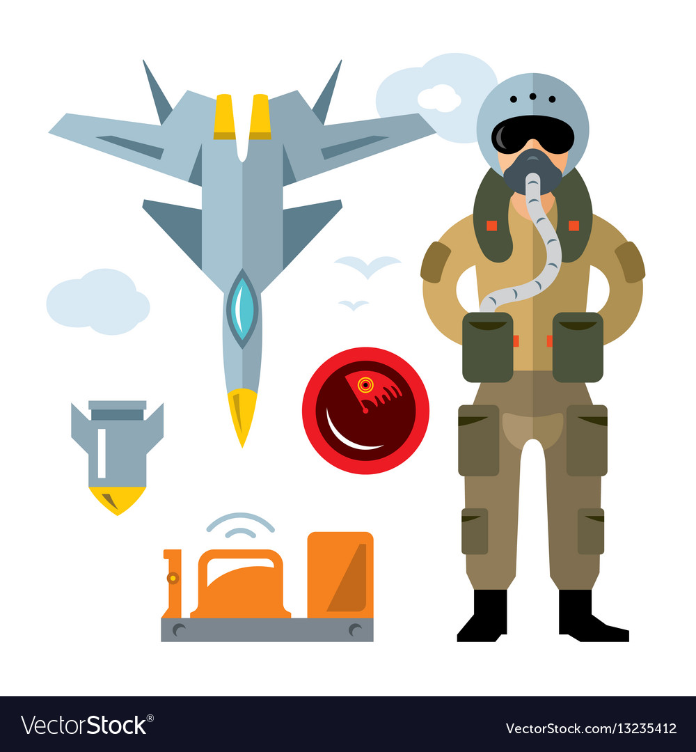 Air force pilot flat style colorful