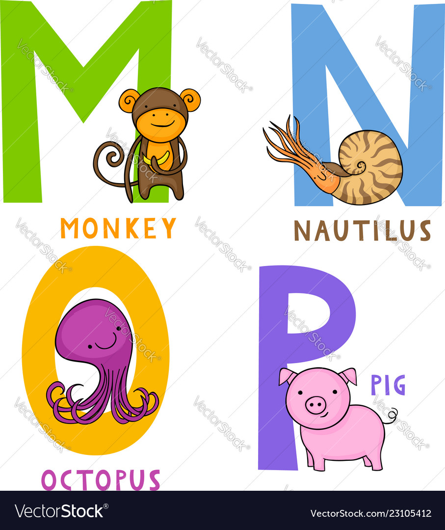 Animal alphabet m n o and p