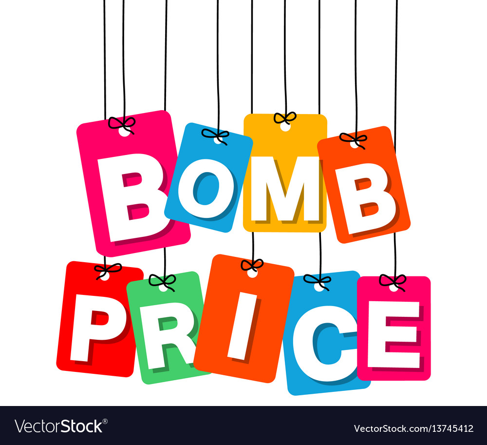 Colorful hanging cardboard tags - bomb vector image
