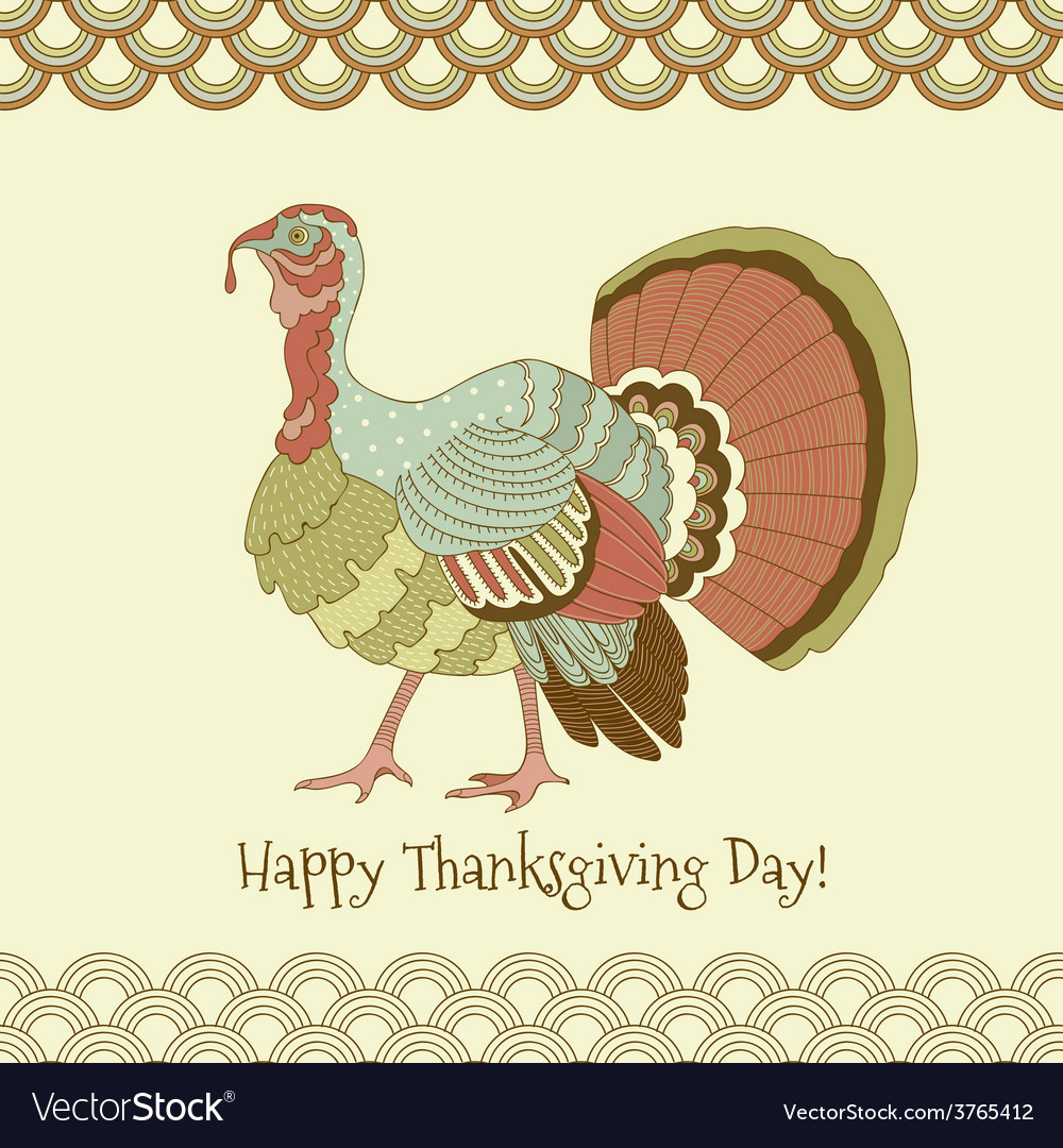 Colorful pastel turkey on yellow background