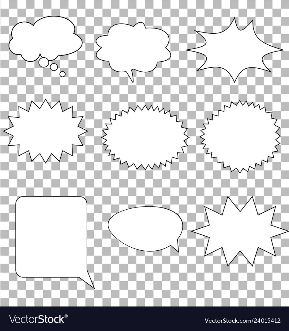 Comic speech bubbles on transparent background