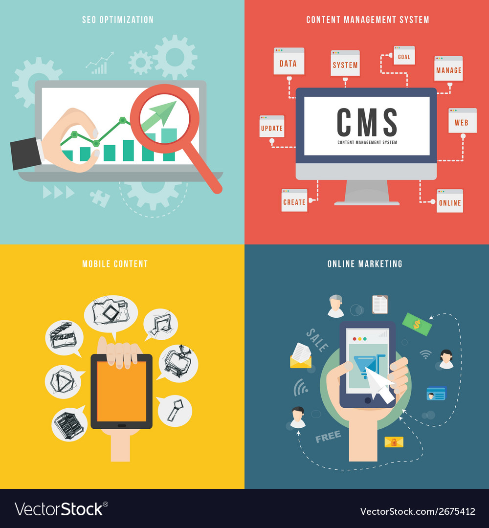 Element of SEO CMS mobile and marketing concept