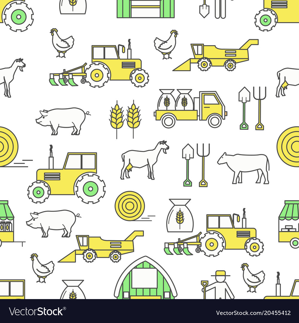 Flat line art farming seamless pattern