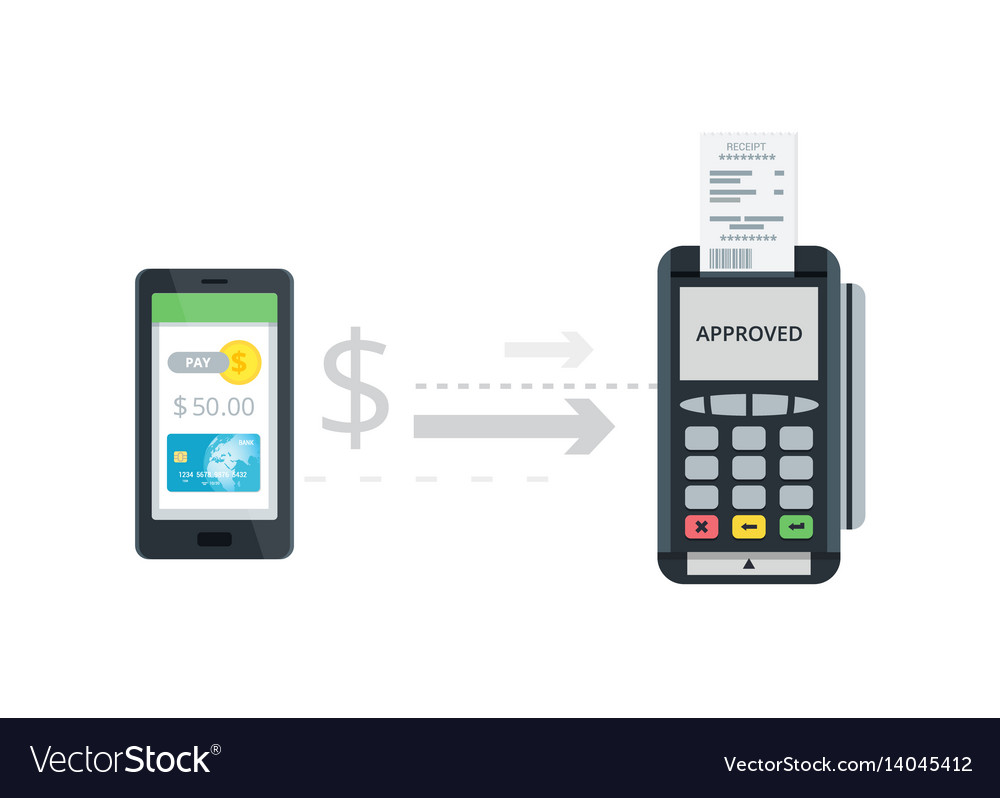 Pos terminal confirms payment from smartphone vector image