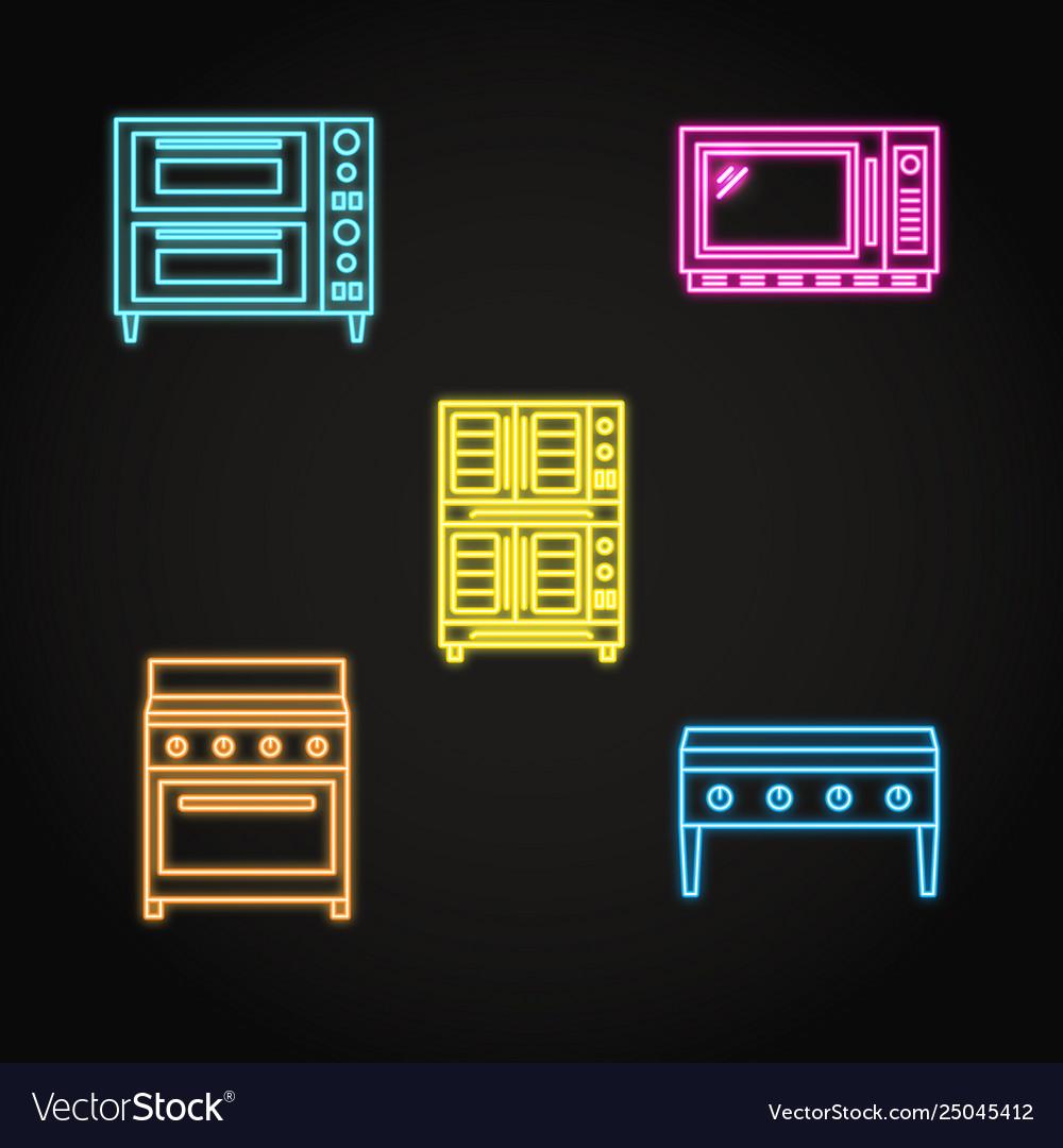 Professional kitchen equipment icon set in neon
