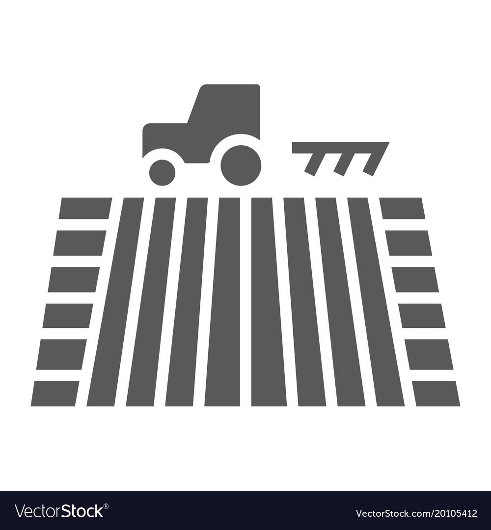 Tractor on field glyph icon farming vector image