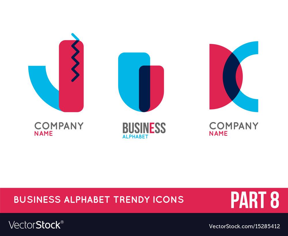 Trendy alphabet icon set