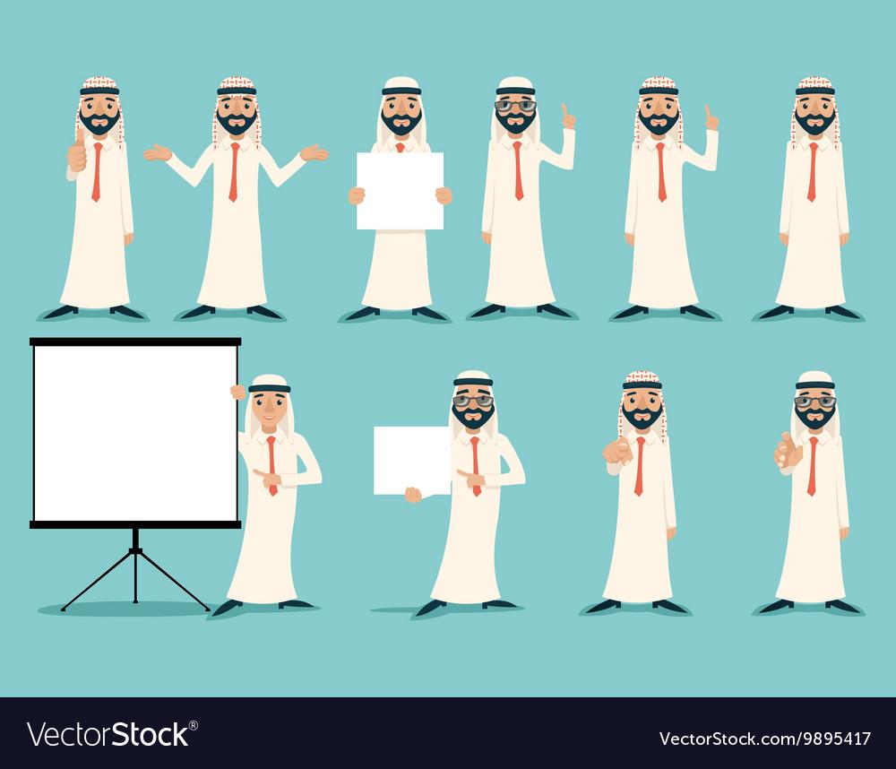 Arab Businessman Retro Vintage Successful Working vector image
