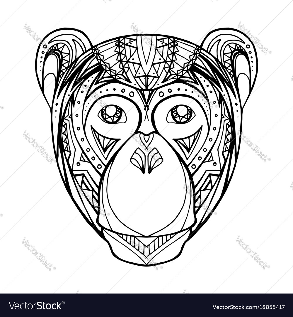 Doodle monkey and boho pattern for your creativity