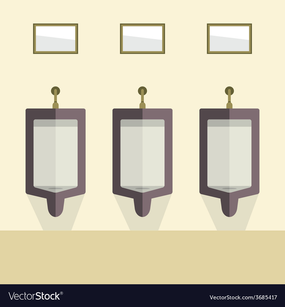 Flat Design Mens Urinal Row vector image