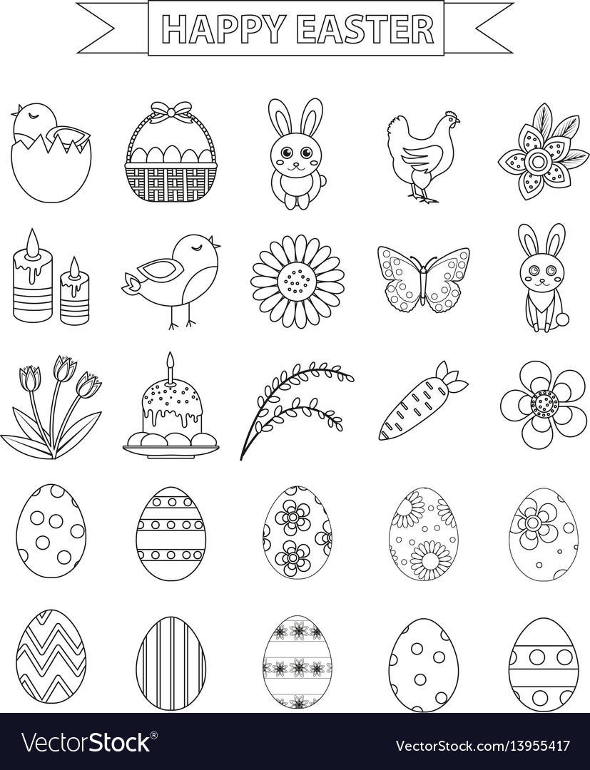 Happy easter icon set line style doodle hand vector image